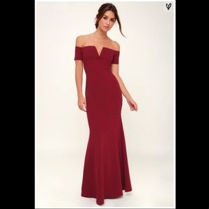 Lynne Burgundy Off-the-Shoulder Maxi Dress